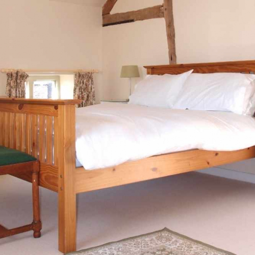 Double Bedroom inside Self Catering Family Farm Cottage at Heath Farm in Craven Arms Shropshire