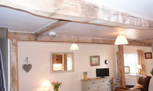 Traditional Character Oak Beams inside Self Catering Family Farm Cottage Shropshire