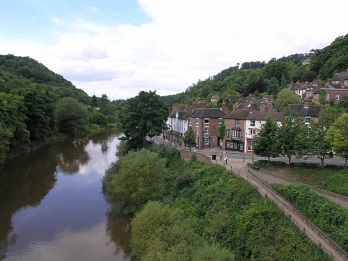 Shops and Houses at Historic Ironbridge World Heritage Site, Gorge Museums in Telford Shropshire